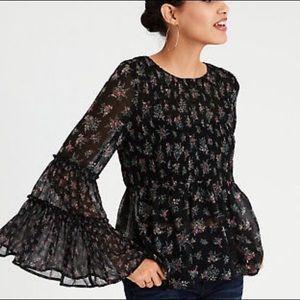 Black floral bell sleeve sheer blouse